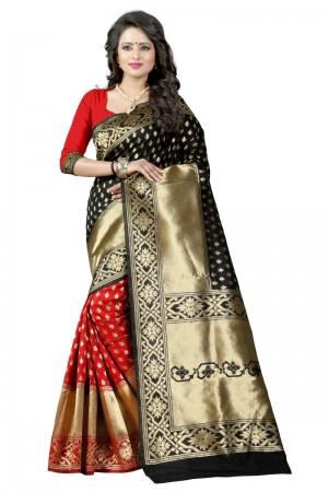 Fashionable Latest Women thnic  Black Red Color Manipuri Coton Silk Banarasi Saree
