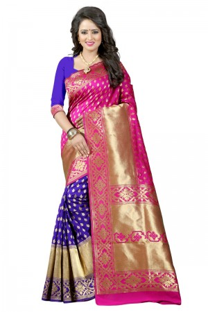 Vogue Latest Women thnic Pink Blue Color Manipuri Coton Silk Banarasi Saree