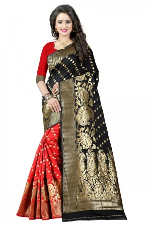Majestic Latest Women thnic  Black Red Color Manipuri Coton Silk Banarasi Saree