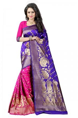 Glossy Latest Women thnic  Blue Pink Color Manipuri Coton Silk Banarasi Saree
