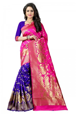 Glamorous Latest Women thnic Pink Blue Color Manipuri Coton Silk Banarasi Saree