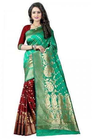 Aesthetic Latest Women thnic Rama Maroon Color Manipuri Coton Silk Banarasi Saree