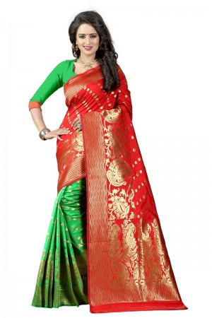 Amiable Latest Women thnic Red Green Color Manipuri Coton Silk Banarasi Saree