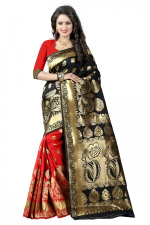 Adorable Latest Women thnic  Black Red Color Manipuri Coton Silk Banarasi Saree