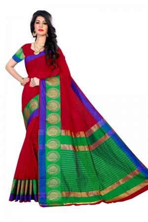 Blissful Latest Women thnic Red Color Coton Banarasi Saree