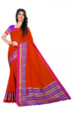 Sparkling Latest Women thnic Orange Color Coton Banarasi Saree