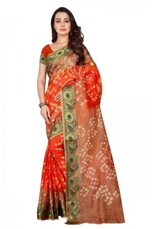 Stylish Cotton Silk Chiku & Fenta Bandhej Women's Bandhani Saree