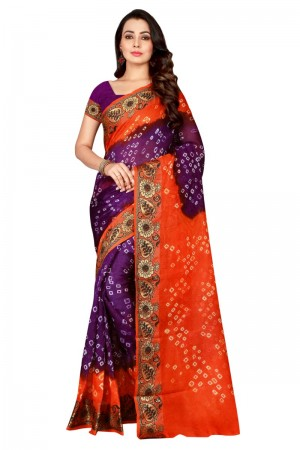 Peppy Cotton Silk Fenta & Purple Bandhej Women's Bandhani Saree
