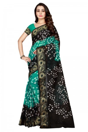 Beautiful Cotton Silk Black & Rama Bandhej Women's Bandhani Saree
