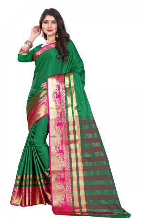 Modish Cotton Silk GREEN & PINK Bandhej Women's Bandhani Saree