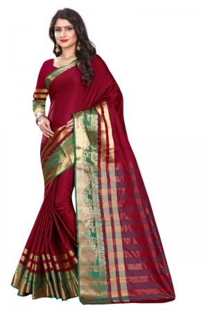 Royal Cotton Silk MAGENTA & GREEN Bandhej Women's Bandhani Saree