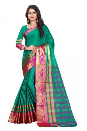 Gorgeous Cotton Silk RAMA & PINK Bandhej Women's Bandhani Saree