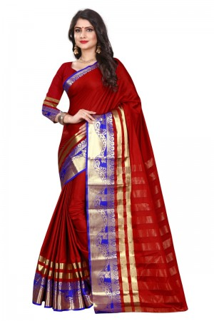 Splendiferous Cotton Silk RED & BLUE Bandhej Women's Bandhani Saree