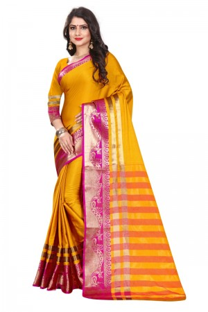 Attractive Cotton Silk YELLOW & GREEN Bandhej Women's Bandhani Saree