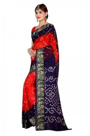 Mind Blowing Blue & Fenta Cotton Silk Bandhani Saree