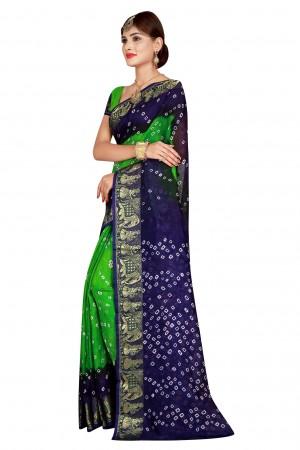 Blissful Blue & Parot Cotton Silk Bandhani Saree