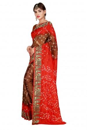 Sparkling Fenta & Chiku Cotton Silk Bandhani Saree