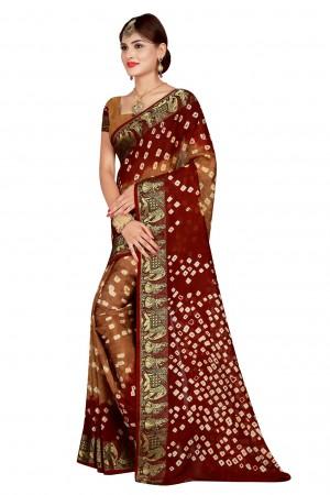 Charismatic Maroon & Chiku Cotton Silk Bandhani Saree