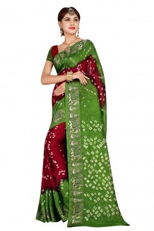 Marvelous Mendi & Maroon  Cotton Silk Bandhani Saree