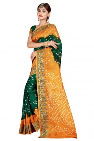 Impressive Rust & Green Cotton Silk Bandhani Saree