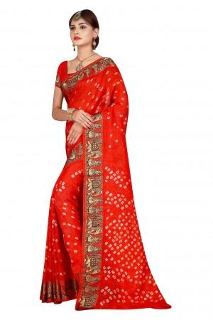 Stylish Fenta Cotton Silk Bandhani Saree