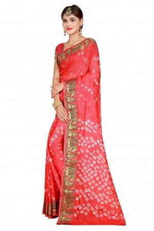 Peppy Gajri Cotton Silk Bandhani Saree