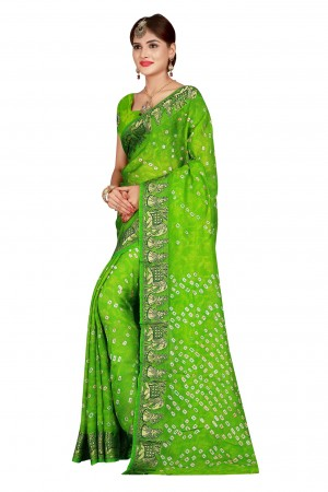 Fab Parot Cotton Silk Bandhani Saree