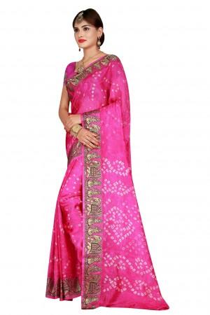 Graceful Rani Cotton Silk Bandhani Saree