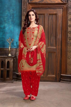 Golden Heavy Cotton Satin Dress Material