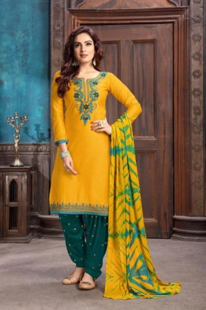 Yellow Heavy Cotton Satin Dress Material