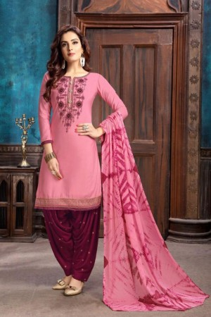 Light Pink Heavy Cotton Satin Dress Material