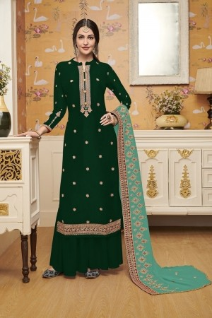 Green Heavy French Crepe Silk Salwar Kameez