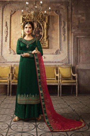 Green Heavy Chinon Silk Salwar Kameez