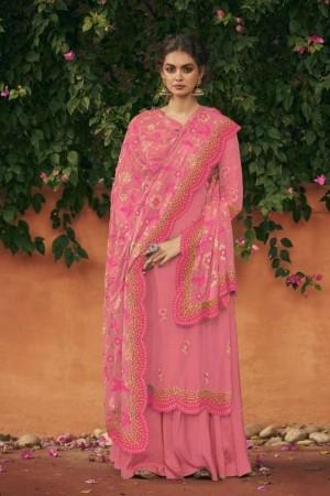 Pink Heavy Italian Chinon  Salwar Kameez