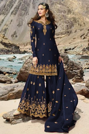 Navy Blue Heavy Faux Georgette Salwar Kameez