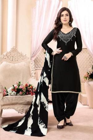 Black Heavy Georgette Satin Patiyala Suit