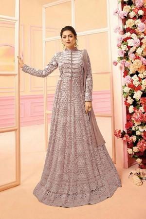 Dusty Pink Heavy Butterfly Net Anarkali Suit