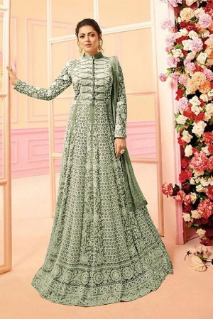 Light Green Heavy Butterfly Net Anarkali Suit