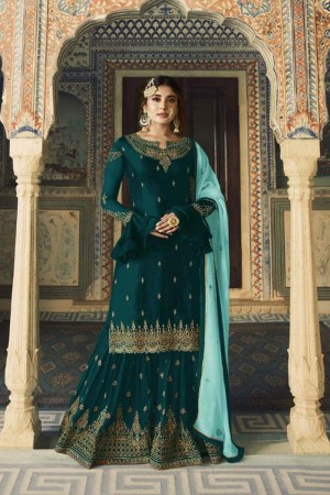 Teal Heavy Faux Georgette Sharara Suit