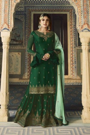 Green Heavy Faux Georgette Sharara Suit