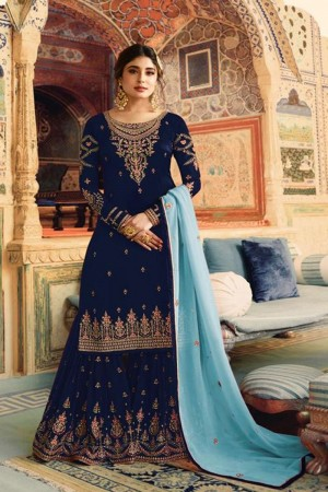 Navy Blue Heavy Faux Georgette Sharara Suit