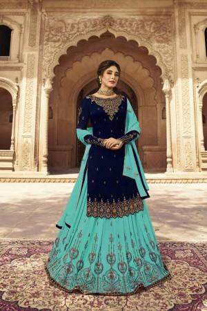 Dark Blue Heavy Faux Georgette Salwar Kameez