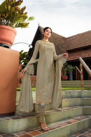 Olive Heavy Faux Georgette Churidar Suit