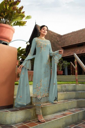 Light Blue Heavy Faux Georgette Churidar Suit