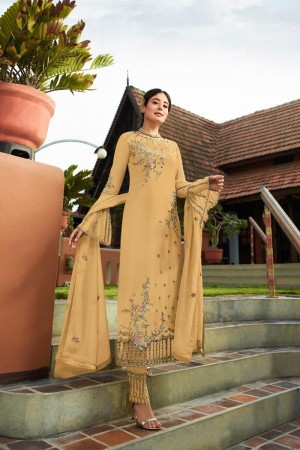 Cream Heavy Faux Georgette Churidar Suit