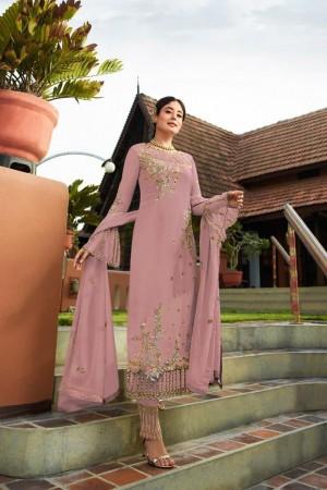 Light Pink Heavy Faux Georgette Churidar Suit
