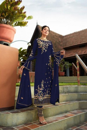 Blue Heavy Faux Georgette Churidar Suit