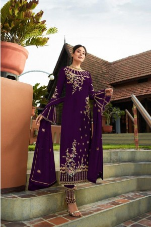 Purple Heavy Faux Georgette Churidar Suit