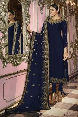 Blue Heavy Faux Georgette Salwar Kameez