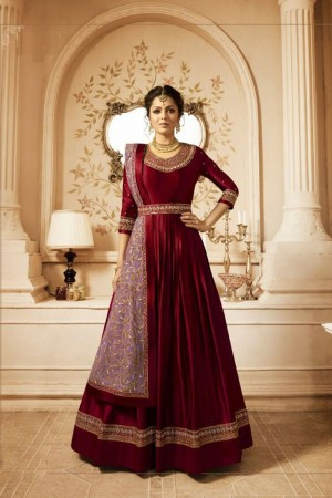 Red Heavy  Linnen Satin Anarkali Suit